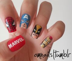 superhero+hero+nail+design | kick-@&% super hero nail designs for boy moms | Lucky Boy
