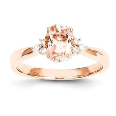 - Metal Material: 14k Rose Gold (Solid) - 3.3gm - Genuine Diamond - Prong Set - Genuine Morganite - Open Back - Polished Finish Width of Band:2 mm Ring Top Length:9mm Ring Top Width:7mm Stone Type: Di