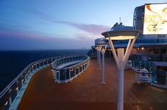 "Deck Above The SeaWalk. The ""hole"" in Royal Princess on Deck 17 outlines the SeaWalk, one deck below, on a beautiful night sailing to Southampton. How To Book A Cruise, Boat Fashion, Love Boat, Princess Cruises, Royal Princess, Cruise Vacation, Southampton, Sailing, Deck"