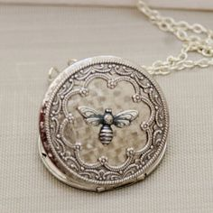 Silver Locket Queen Bee Silver Locket Photo by emmagemshop on Etsy, $35.99