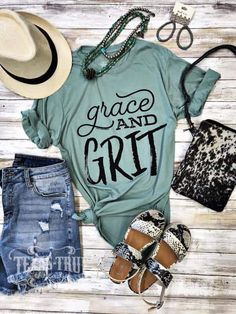 """Grit"""" Graphic Tee and Grit"""" Graphic Tee Nordace - Nordace Siena - Smart Backpack Make America Cowboy Again Tee Turquoise Boho Kimono Lawd Have Mercy on Cute Country Outfits, Country Shirts, Western Outfits, Western Wear, Cute Outfits, Southern T Shirts, Country Style Clothes, Country Dresses, T Shirts With Sayings"""