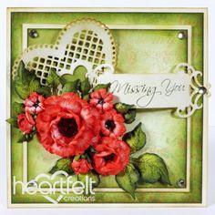 Heartfelt Creations | Deep Red Botanical RoseUse of Spellbinders heart as a stick-in.