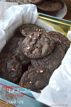 Peppermint Hot Chocolate Brownie Cookies are soft, fudgy cookies with the rich flavors of hot chocolate, crushed peppermints & brownies!