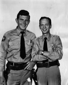 "Andy Griffith and Don Knotts in CBS photo for 1960 premeire of the ""Andy Griffith Show."""