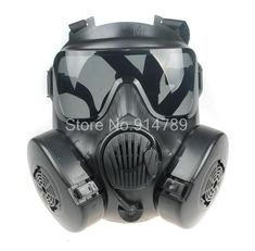 Black Tactical Airsoft Painball Full Face Gas Masks For Wargames or Cosplay Tactical Gas Mask, Airsoft Helmet, Airsoft Guns, Tactical Gear, Paintball Mask, Tactical Equipment, M50 Gas Mask, Half Face Mask, Skull Mask