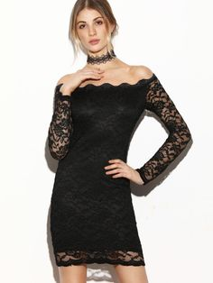 Black Scallop Off The Shoulder Sheer Sleeve Lace Dress Short Lace Dress 01c56a1a8