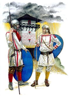 Two Limitanei infantrymen stand watch over the frontier during the fourth century AD. Art by Amelianvs.