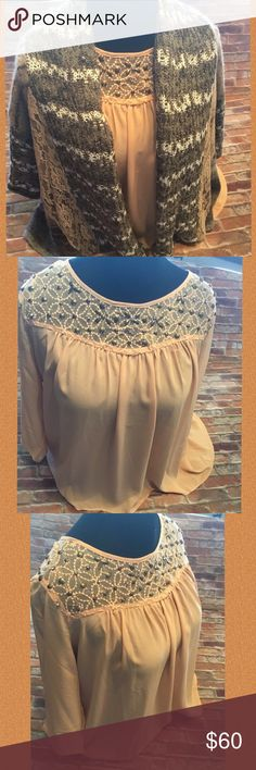 Top & Sweater Bundle Set Peach baby doll top with rhinestones an lace , 3/4 sleeve, button in the back size xlg, the sweater is dark gray, peach, an white, 3/4 sleeve , peach lace on the back...its size large, cardigan, both in excellent  condition..   D-2 BKE Tops