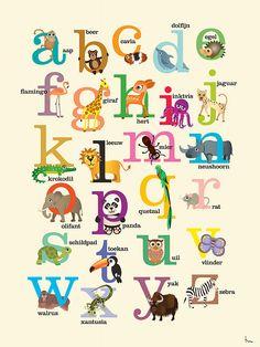 Kunstwerk: 'Dieren alfabet' van Annelies Castricum