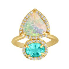 Twice as nice, an Australian opal and a boulder opal make an eye-catching pairing on a cocktail style of 14-karat gold accented with over a quarter carat of diamond details.