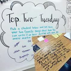 Top Two Tuesday #miss5thswhiteboard Thanks for the bubble inspiration, @justspeechy! #teachersfollowteachers #iteachfifth