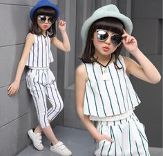 Girls clothing sets 2019 summer fashion striped vest T-shirt pants two pieces kids tracksuit children clothing set kids clothes. Dresses Kids Girl, Kids Outfits, Fashion Kids, Fashion Outfits, Cheap Fashion, Suit Fashion, Outfit Sets, Clothing Sets, Girl Clothing