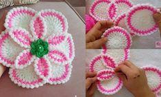dowry-easy-to-torsion-leaf-flower-fiber construction - LİFLER Crochet Flower Patterns, Crochet Blanket Patterns, Baby Blanket Crochet, Crochet Motif, Crochet Flowers, Crochet Stitches, Knitting Patterns, Knitted Baby Blankets, Leaf Flowers