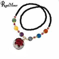 Love Rose Flower Long Necklace for Women Bohemia Beads Maxi Necklaces & Pendants Crystal Rhinestones Statement Collares Jewelry #Affiliate