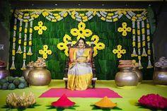 "Brides of AP on Instagram: ""#babyshower @sravyamanikonda Saree @handloomskalpavruksh Back drop @handmade_by_anusatya #TheBridesOfAP #BridesOfAndhraPradesh…"""