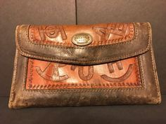 Womens AMERICAN WEST Cowgirl Western Leather Wallet VGUC