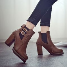 Costbuys Square Heel Ankle Boots Zapatos De Mujer Botas Size New Autumn And Winter Boots Button High Heels Shoe Appearance Women's Boots Belt Thigh High Boots, Leather High Heel Boots, Buckle Boots, Knee Boots, Heeled Boots, Belt Buckle, Women's Boots, Flat Boots, Ankle Shoes