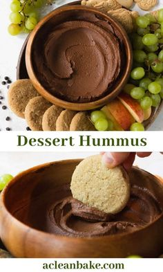 Chocolate Brownie Dessert Hummus Dessert hummus is all the rage these days! This chocolate brownie batter variety is one of the originals: a chocolate, chickpea-based dip that is a great party snack. My version offers a legume-free variation Chocolate Hummus, Healthy Chocolate, Healthy Dessert Recipes, Healthy Baking, Cookies Healthy, Dessert Food, Delicious Recipes, Brownie Desserts, Brownie Cookies