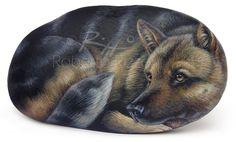 German Shepherd - acrylic on rock - cm. 13   Original painted rocks by Roberto Rizzo   www.robertorizzo.com
