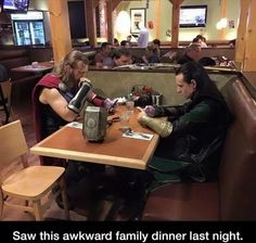 I don't know what's better, the role playing, or the fact that they're supposed to be warriors from Asgard but they're on their phones. Thor: Brother, what was that activity of conversating between the familiar and unknown about certain subjects? Loki: Tumbler? Not gonna happen.