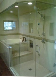 no need for a door here, can be open at the shower seat, also step on seat to get into tub