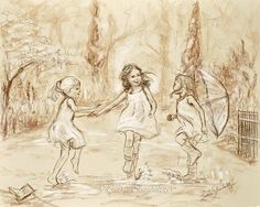 """Dancing illustration Monotone, rain, wall art, girls daughters """"Come Dance With Me My Friends!"""" Laurie Shanholtzer Canvas or paper prints"""