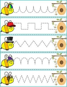 Trace The Pattern: Bees To Beehives Preschool Writing, Fall Preschool, Preschool Printables, Preschool Worksheets, Bee Crafts For Kids, Math For Kids, Bee Activities, Infant Activities, Pre Writing