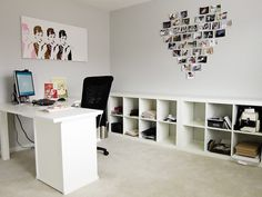 Would add some kind of color on the walls just because white walls drive me crazy. Love the art and desk space. Photographers Office, Ikea Book, Home Office Organization, Office Storage, Shabby Chic Office, Workspace Inspiration, Office Walls, Office Interiors, Interior Decorating