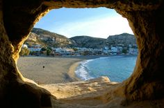 Matala, Crete- Cave dwellers paradise for hippies. I was born too late Dream Vacations, Vacation Spots, Matala Crete, Oh The Places You'll Go, Places To Visit, Glasgow, Crete Island, Creta, Adventure Is Out There