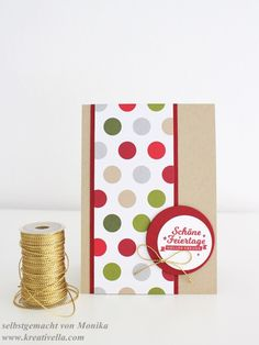 Weihnachtskarte Christmas Card DSP Designerpapier Fröhliche Feiertage Stempelset Frohe Feiertage Stampin' Up! clean simple einfach schnell Kordel Schnur gold
