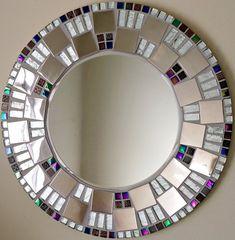 Beautiful Handmade Mosaic Mirror Bevelled Edge white ceramic and blue foiled glass Mosaic Tile Mosaic Wall Art, Mirror Mosaic, Mirror Art, Glass Mosaic Tiles, Mirror Plates, Round Mirrors, Handmade Mirrors, Mandala, Beautiful Mirrors