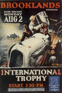1936 'Brooklands International Trophy' Race Meeting poster