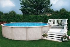 Above Ground Swimming Pool Deck Plans Making The 18 Foot Round . Swimming Pool Decks, Above Ground Swimming Pools, In Ground Pools, Small Above Ground Pool, Above Ground Pool Ladders, Above Ground Pool Landscaping, Backyard Pool Landscaping, Landscaping Ideas, Decking Ideas