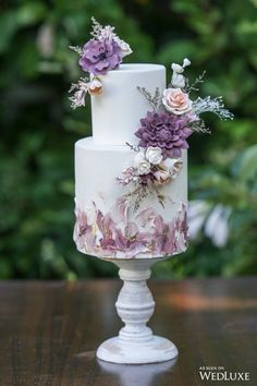 Boho, Eclectic Boho, Eclectic Boho, Building Cake by Mike's Amazing Cakes Minus top tier, or top tier on bottom to replace fairy tier. Purple Wedding Cakes, Beautiful Wedding Cakes, Beautiful Cakes, Perfect Wedding, Cake Wedding, Gold Wedding, Vintage Wedding Cakes, Floral Wedding, Purple Cakes