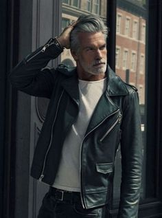 Mature Men, Leather Bags Handmade, Biker, Mens Fashion, People, Shopping, Black, Leather Jackets, Style