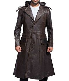 New Assassin Creed Syndicate - Jacob Frye Michael Fassbender Brown Leather Trench Coat XXS (Lar - Jacket Chest 48 , Real Leather) online shopping - Thegreatfashion Leather Hoodie, Mens Leather Coats, Leather Trench Coat, Brown Leather, Leather Jackets, Real Leather, Men's Leather, Revival Clothing, Look Cool