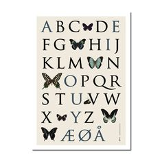 Danish alphabet poster for kids' room