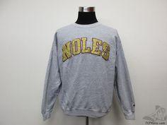 Vtg 90s Champion Florida State St Seminoles Crewneck Sweatshirt sz L Large SEWN  #Champion #FloridaStateSeminoles