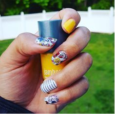 Flowers and stripes are cute additions to your Summer manicure.