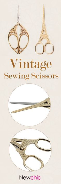 Vintage Gilded Scissors Golden Eiffel Tower Architecture Shape Sewing Scissors Shear Accessories is hot sale on Newchic. Sewing Tools, Sewing Hacks, Sewing Crafts, Sewing Projects, Sewing Ideas, Vintage Scissors, Sewing Scissors, Vintage Sewing Notions, Vintage Sewing Machines
