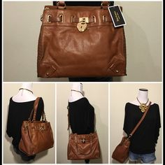 """NWT Leather Chain Daydreamer Crossbody Bag Satchel JUICY COUTURE  Robertson Leather Daydreamer Cognac Style #: YHRU3657  Brand New with Tags +  GUARANTEED AUTHENTIC!  Made of pebbled leather enhanced with polished heart padlock and quilted panels. A magnetic snap opens to a leopard-print interior with two slim pockets and a zip compartment. The double handles and optional adjustable strap offer versatility.  Measurements: 13"""" W x 10"""" H x 6"""" D Strap Drop: 8"""" Long adjustable crossbody strap…"""