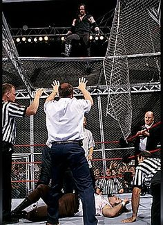The Undertaker after choke slamming Mankind through Hell in a Cell at King of the Ring '98.
