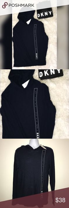 Nwt DKNY Men's Long Sleeve Shirt w/Hood New Medium Size  Men's Navy Long Sleeve Shirt wih Hood Dkny Shirts Tees - Long Sleeve