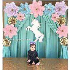 Unicorn birthday with giant paper flowers Unicorn Themed Birthday Party, Unicorn Party, Birthday Party Decorations, Wedding Decorations, Quinceanera Decorations, Paper Flower Wall, Paper Flower Backdrop, Paper Flowers, Unicorn Baby Shower