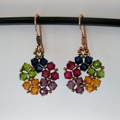 Goldtone Lovely Multicolor Crystal Earrings (USA) - Overstock™ Shopping - The Best Prices on Earrings