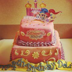 Colorful Shimmer and Shine Birthday Cake #shimmerandshine #princess #shimmer #shine #pink #purple #gold #birthdaycake #nickjr #nickelodeon #treehousetv