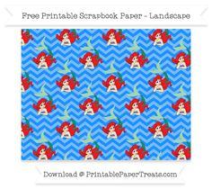 FreeDodger Blue Chevron Large Ariel Pattern Paper - The Little Mermaid