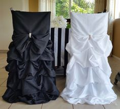 Black and White chair cover set, Black and Whit wedding chair cover, Bride and Groom wedding chair cover, Ruffled Wedding Chair Covers White Chair Covers, Black And White Chair, Card Table Wedding, Table Cards, Weeding, Event Decor, Sash, Make It Simple, Backdrops