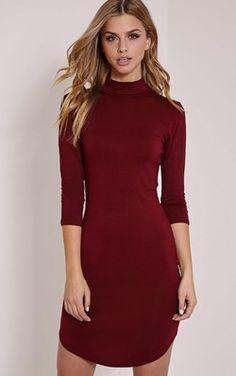Alby Burgundy 3/4 Sleeve Curve Hem High Neck Dress
