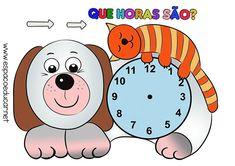 PAINEL RELÓGIO PARA A PAREDE DA SALA DE AULA - IMPRIMIR - MODELO CACHORRINHO - ESPAÇO EDUCAR Clock Craft, First Grade, Clay Crafts, Children, Kids, Family Guy, Crafty, Education, Math